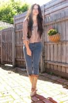 silk Witchery blouse - cut out El Vaquero boots - coin Top Shop vest