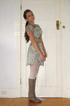 light brown vintage Pollini boots - epaulette Fairground dress - ivory lattice P