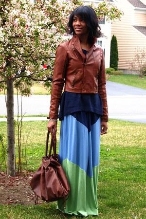 blue Forever 21 sweater - dark brown Nordstrom bag