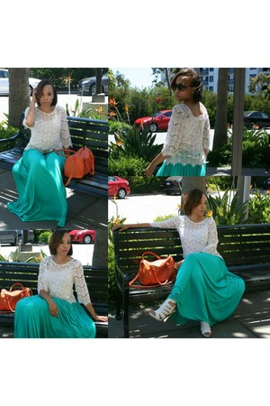 ivory ClosetPiece top - teal maxi skirt ClosetPiece skirt