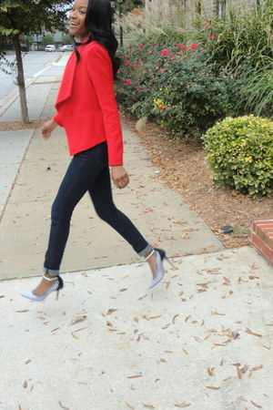 red Anne Klein blazer - dark denim J Brand jeans - weatherbeee Aldo pumps