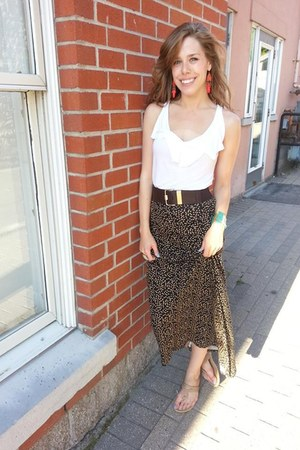 brown maxi Urban Outfitters skirt - red Old Navy earrings
