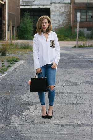 white leopard pocket Zara blouse - blue ripped garage jeans