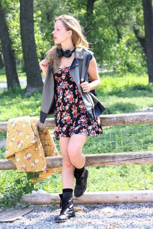 black combat Call it Spring boots - black floral print Urban Outfitters dress