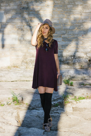 deep purple trapeze Forever 21 dress - tan Jeffrey Campbell shoes