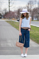 blue denim culotte H&M pants - white Aldo hat - light pink Forever 21 purse