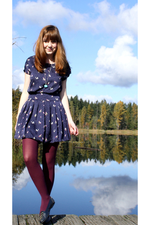 purple fred flare tights - blue Secondhand shoes - blue Forever21 dress