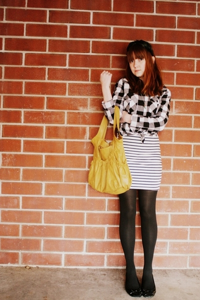 forever 21 shirt - H&M dress - gift tights - H&M shoes - Pull and Bear purse - v