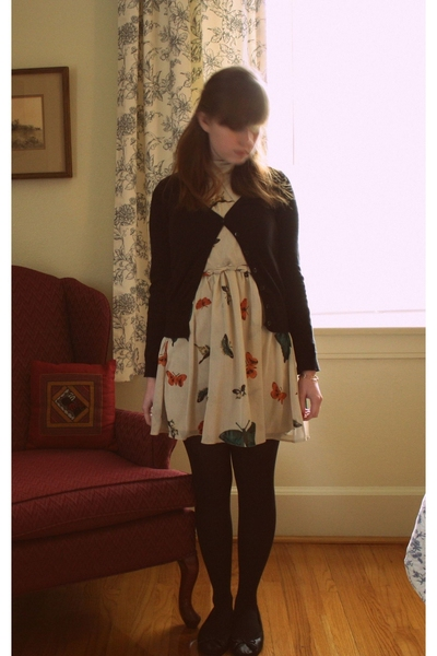 H&M coat - h&m via thrift town sweater - asos dress - gift stockings - H&M shoes