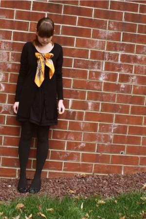 forever 21 sweater - Secondhand scarf - forever 21 dress - Walmart stockings - H