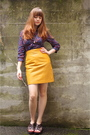 Purple-h-m-dress-red-modcloth-tights-blue-h-m-vest-brown-seychelles-shoes-