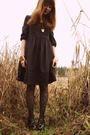 Blue-h-m-dress-black-urban-outfitters-tights-black-bloch-shoes-gold-marc-b