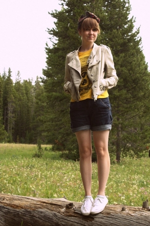 beige Urban Outfitters jacket - white H&amp;M shoes - yellow Thank You Mart shirt
