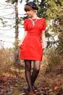 Red-french-connection-dress-black-bona-drag-shoes-black-vintage-hat-black-