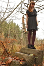 Beige-forever-21-coat-black-need-supply-dress-purple-fred-flare-tights-bla