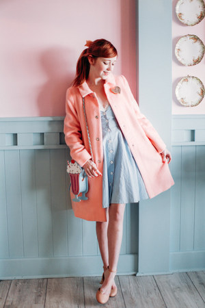 modcloth purse - Family Affairs dress - kling coat - Urban Outfitters flats
