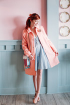 modcloth purse - Family Affairs dress - kling coat - Urban Outfitters flats