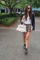 black Lucette jacket - black portmans boots - off white Prada bag