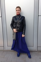 navy Mercì skirt - black bagatt jacket - heather gray amy gee bag