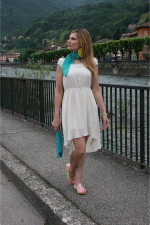 ivory OASAP dress - teal Occhiblu bag - yellow OASAP loafers