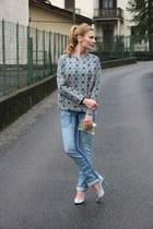 blue asos jacket - periwinkle Anama jeans - chartreuse asos purse