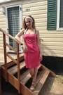 Hot-pink-pepejeans-dress-camel-amy-gee-sandals