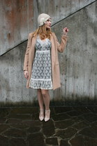 beige Yes Style coat - white Vila clothes dress - beige Le Chapeu hat