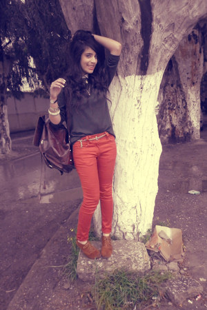 carrot orange My christy jeans - dark green vintage sweater - cream H&M blouse