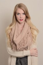 Peach Infinity Scarf with Fringe