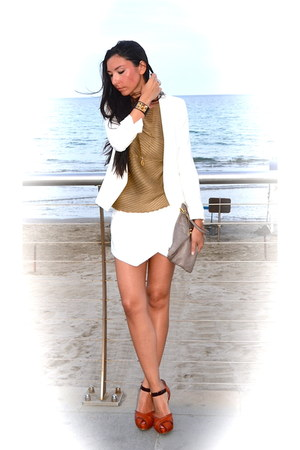 Fendi necklace - Mango jacket - Zara shorts - lella baldi pumps