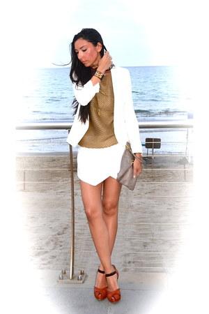 Fendi necklace - Mango jacket - Zara shorts - lella baldi pumps