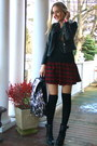 Black-lace-up-boots-chicwish-boots-ruby-red-tartan-chicnova-skirt