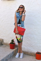 red vjstyle bag - blue denim BangGood vest - white digital Upwatch watch