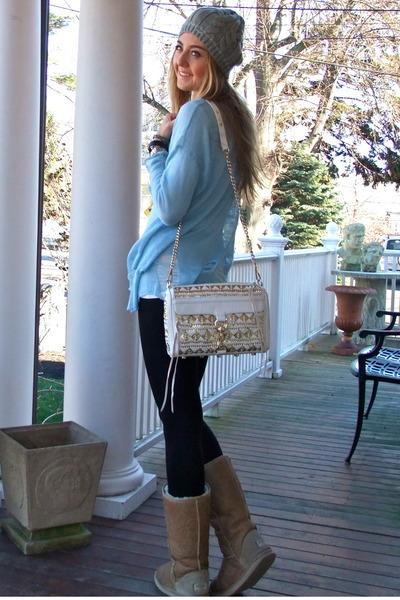 white Rebecca Minkoff bag - camel Ugg Australia boots - silver calvin klein hat