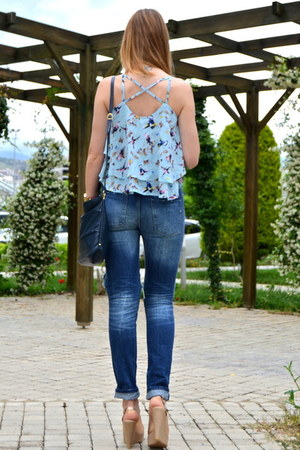 light blue Choies blouse - navy cut out Choies jeans