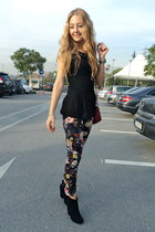 black Mango blouse - ruby red LC Waikiki bag - red floral Mango pants