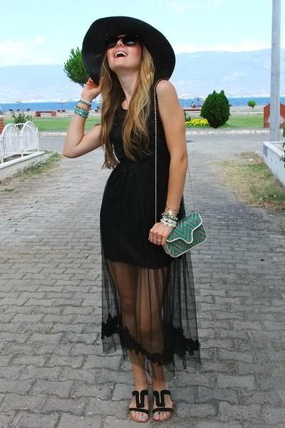 black lace OASAP dress - crimson retro zeroUV sunglasses