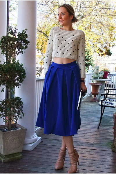 blue romantic Jessica Buurman skirt - black OASAP bag