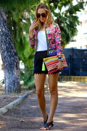 black lace Sheinside shorts - hot pink embroidered Sheinside blazer