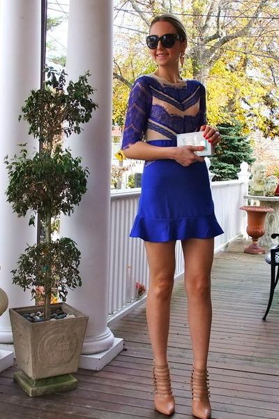 blue lace Choies dress - black zeroUV sunglasses