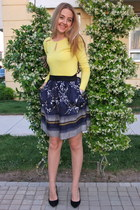 navy Mango skirt - brown animal print Parfois bag - black Mango heels