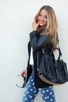 black quilted Lookbook Store coat - blue polka dot Lookbook Store jeans