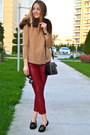black Michael Kors bag - camel vjstyle sweater - black round zeroUV sunglasses