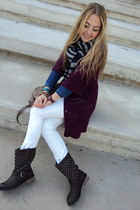 white H&M jeans - dark brown biker boots Twist boots - blue denim Mango shirt