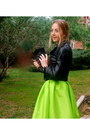 b0be93ea5a Lime Green Midi Choies Skirts, Black Leather Forever 21 Coats, Black ...