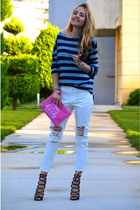 white Front Row Shop jeans - navy striped Front Row Shop top