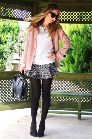 silver tweed Choies skirt - bubble gum Zara coat - black vjstyle bag