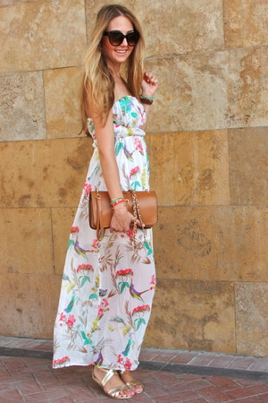 gold gold vjstyle sandals - white floral print Chichic dress