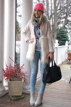 ivory fur Sheinside coat - hot pink knitted H&M hat - silver Chicwish sweater