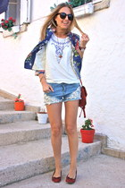 red Rings and Tings necklace - navy floral Fashion thebox blazer